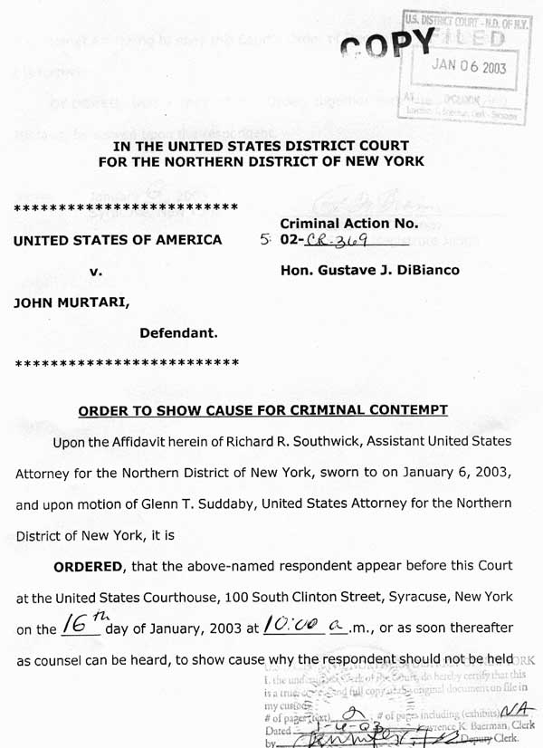 Federal trial for petitioning senator clinton for reform order to show cause issued by judge page1 page spiritdancerdesigns Image collections